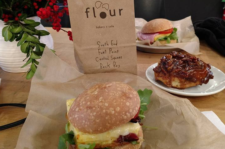 sticky buns and breakfast sandwich from Flour