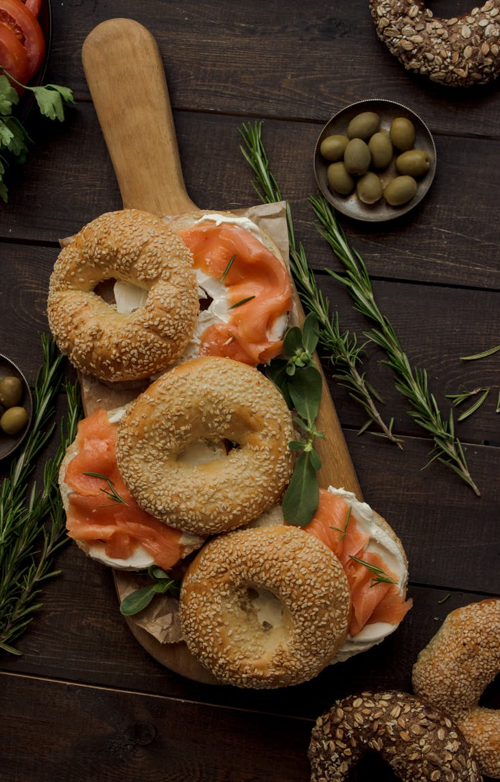 Lox and bagels with cream cheese