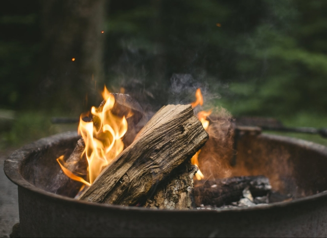 a burning fire pit