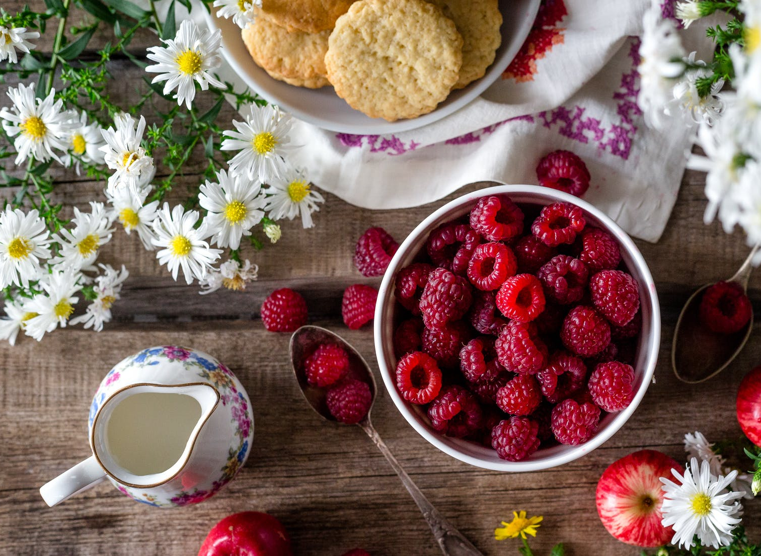 bowl of berries with biscuits and cream