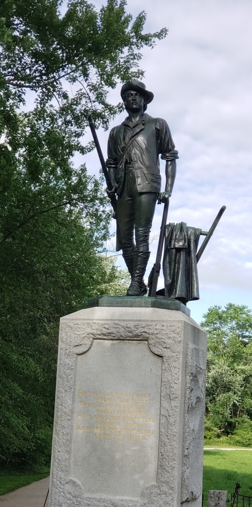 a statue of the minuteman in Concord