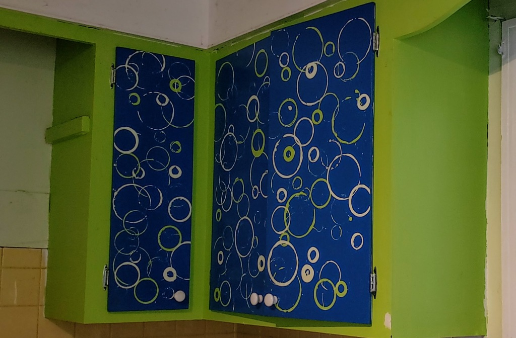 funky blue and green cabinets