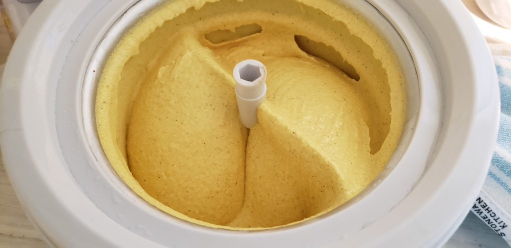 completed ice cream in maker