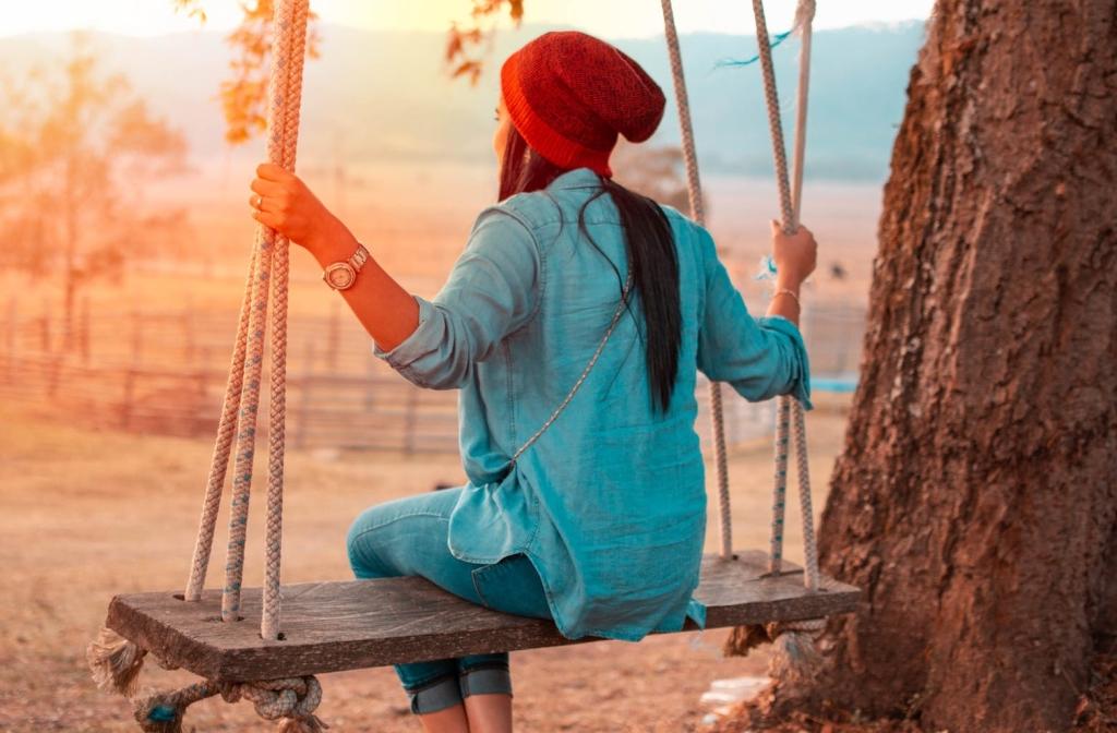 woman on a tree swing