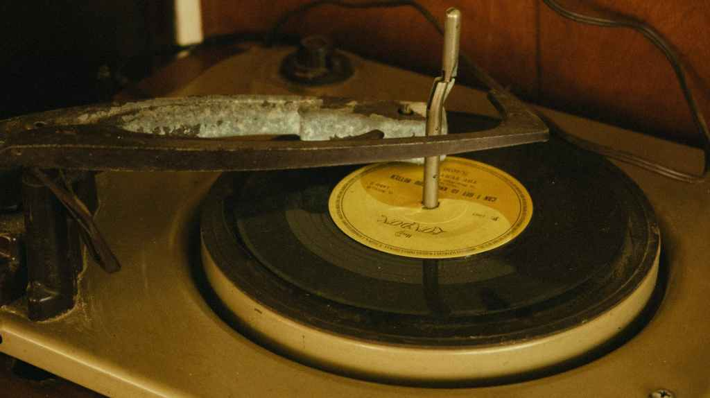 an old gramophone playing a record