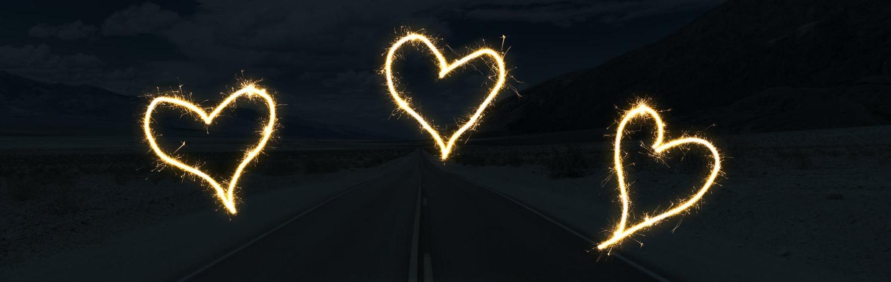 3 sparkler hearts