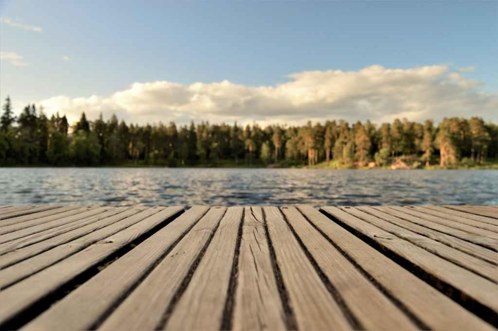 dock overlooking pond