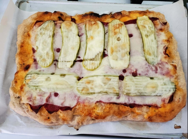 Completed Reuben Pizza, warm and bubbly