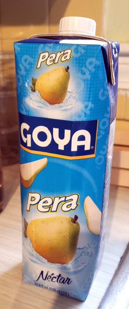 carton of Goya pear fruit nectar