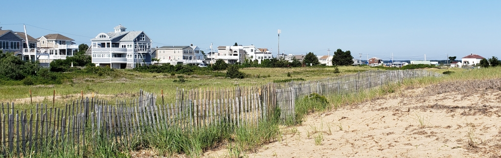 image of dunes and houses on the beach.