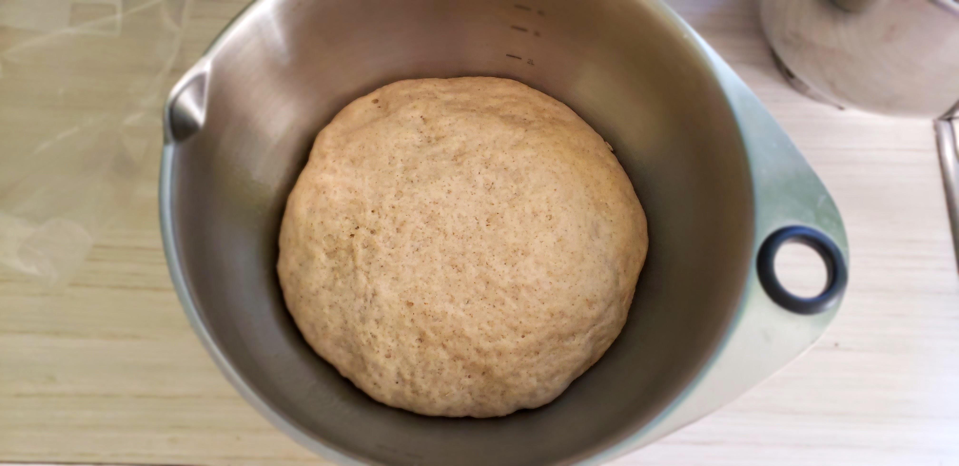 Rye dough doubled in bulk