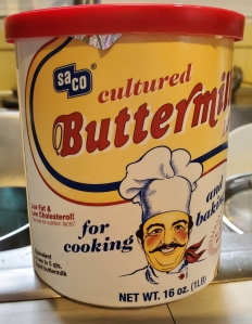 Container of buttermilk powder
