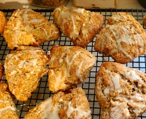Iced scones on the cooling rack