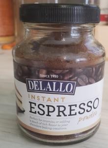 jar of Delallo Espresso powder