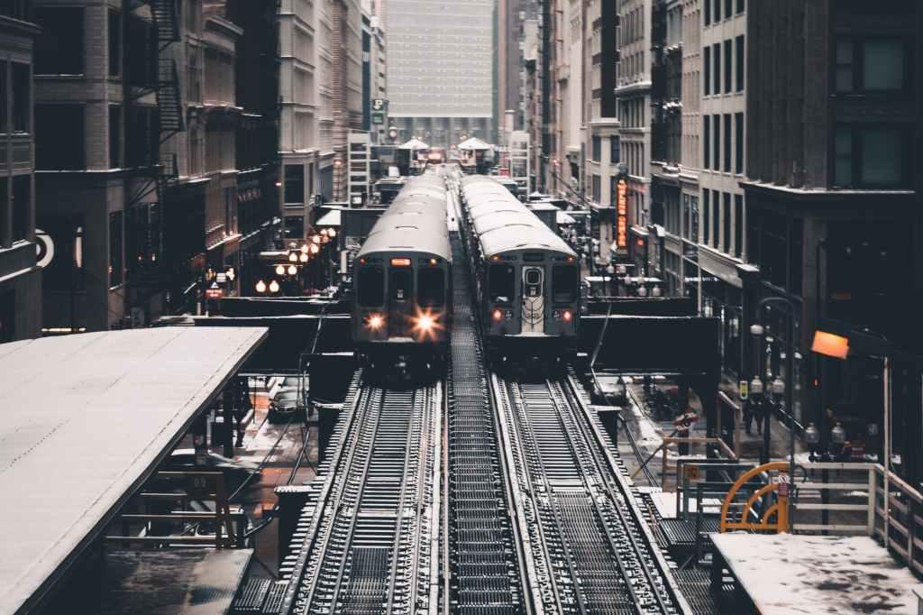 two trains on their tracks.