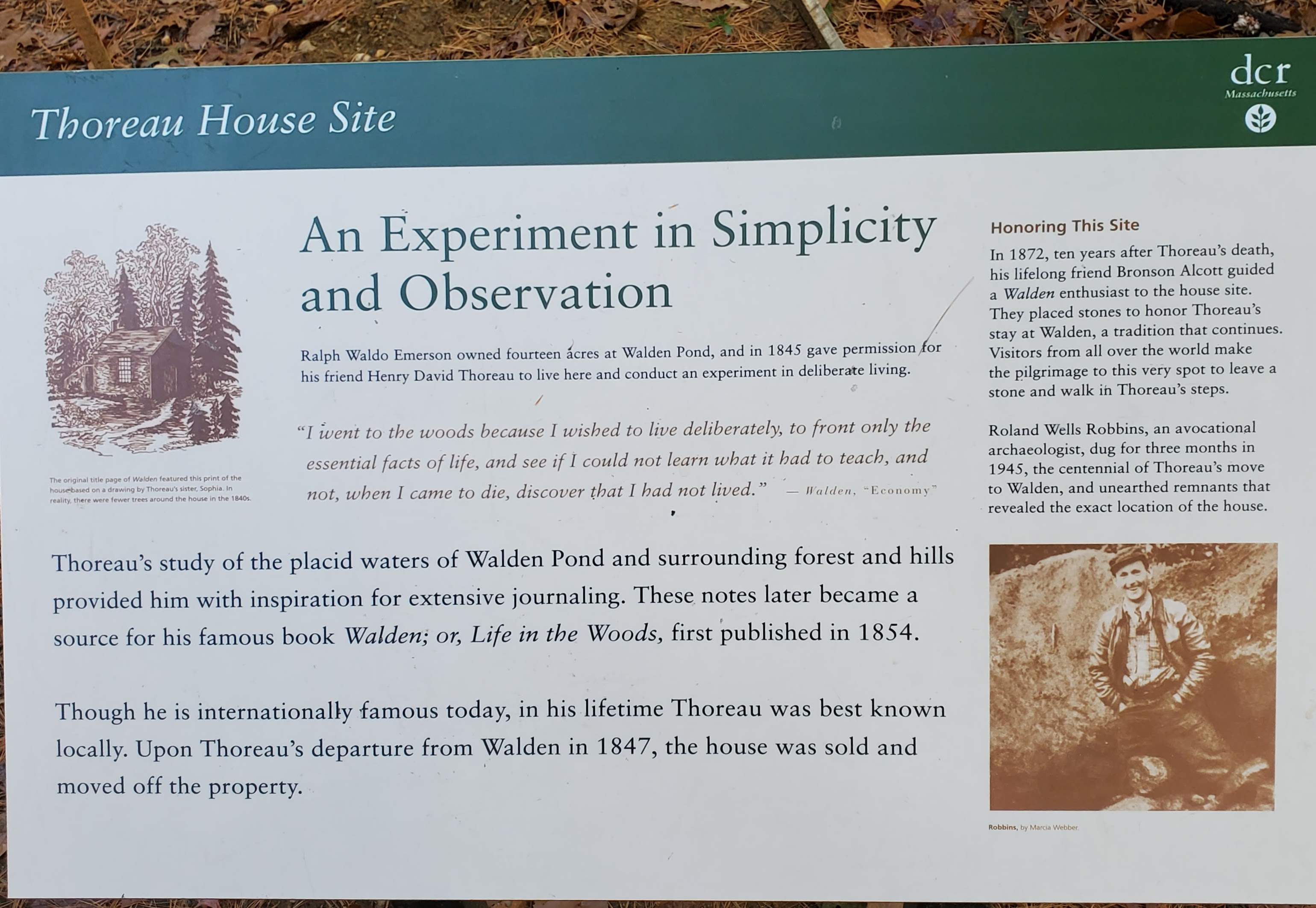 Sign about Thoreau and the excavation of the site.
