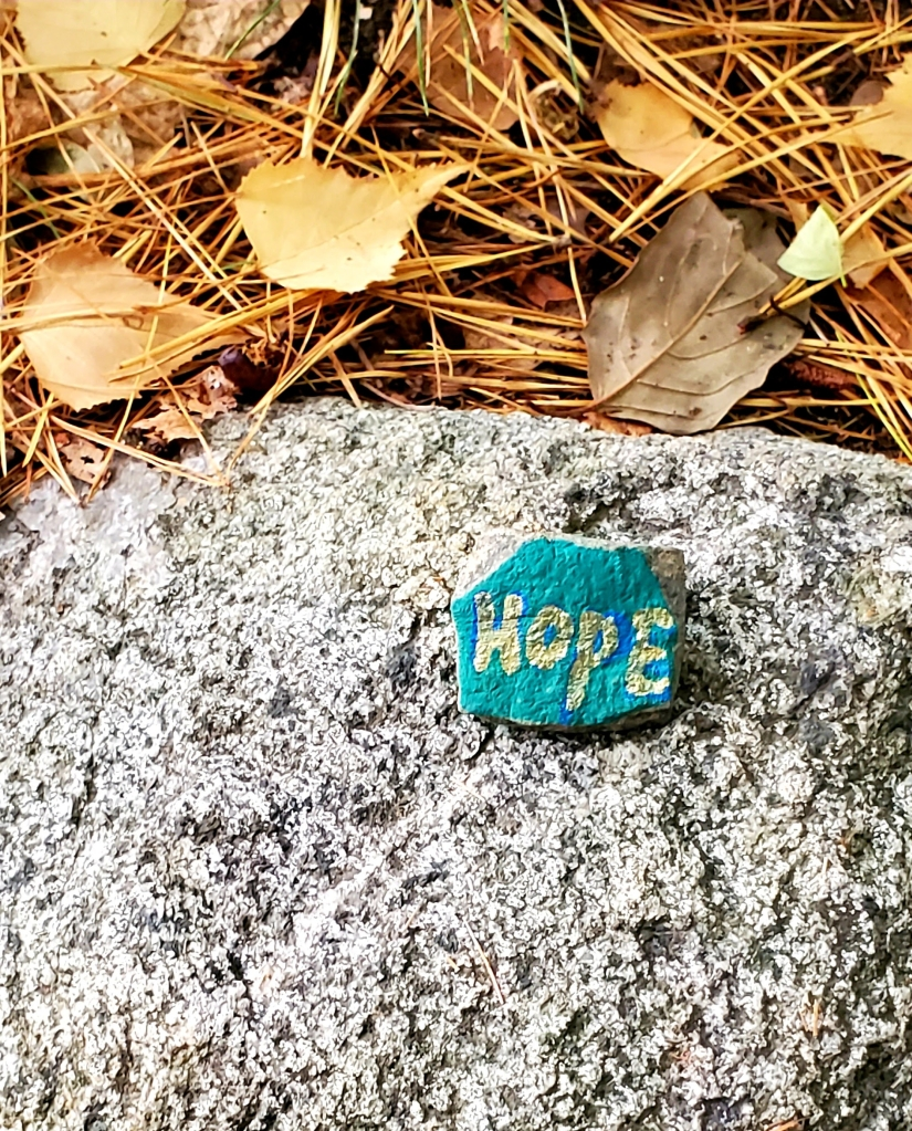 "A granite stone painted with turquoise and gold, left behind on another granite stone, that says simple ""Hope!"""