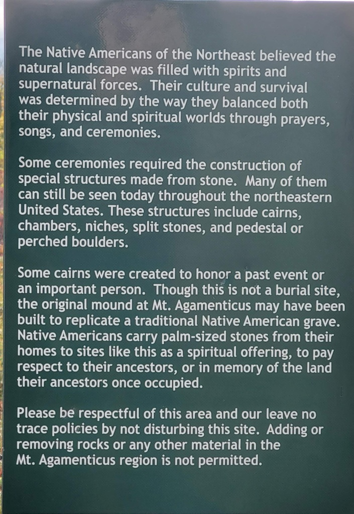 Sign explaining the native american traditions of Mount Agamenticus