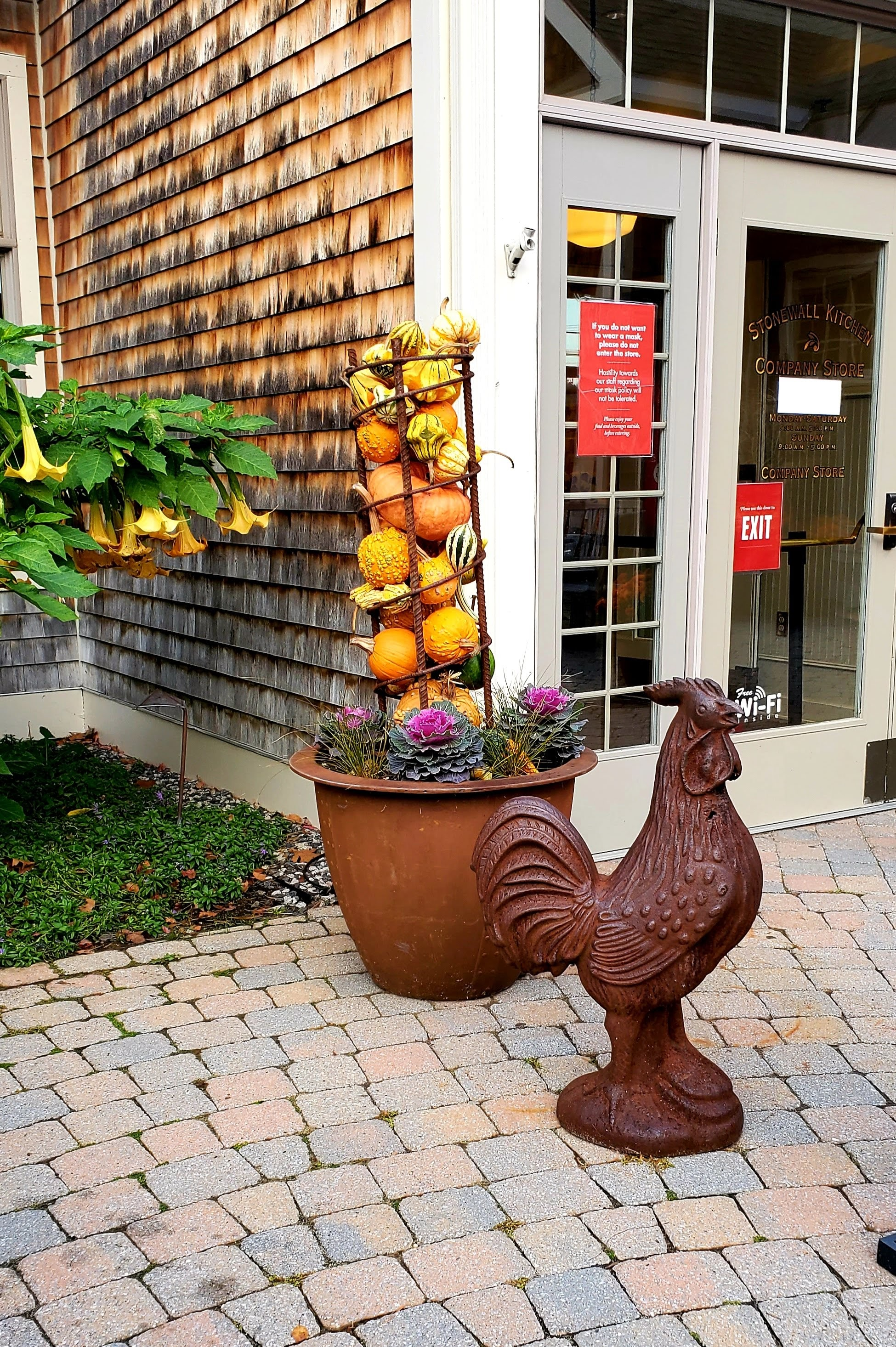 iron rooster and squash display