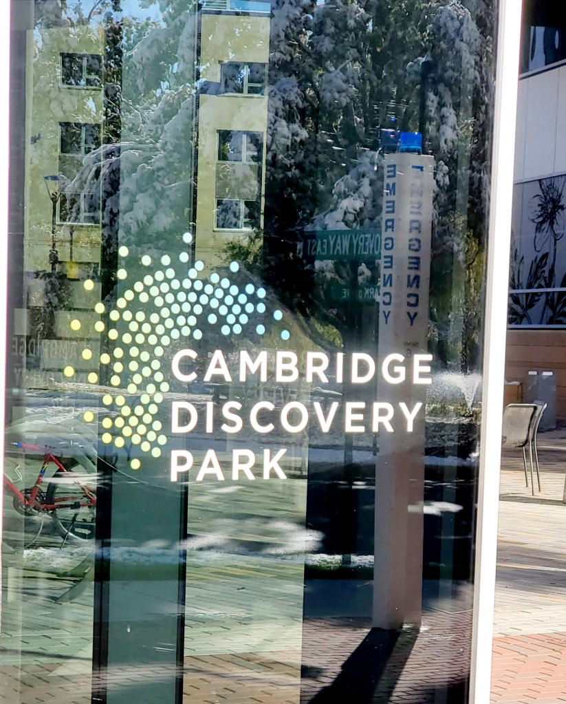 Window of Cambridge Discovery Park office building