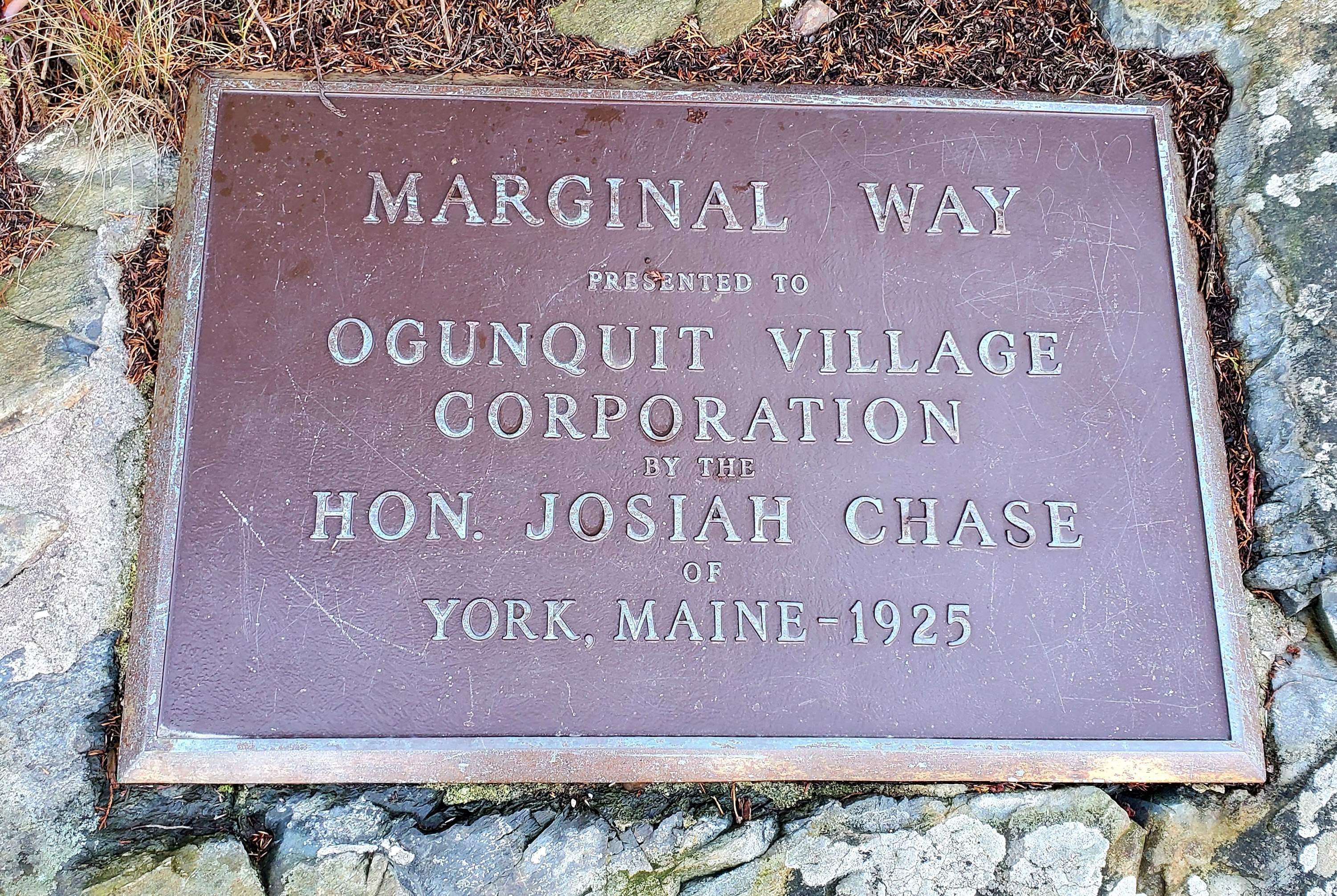 Plaque for Marginal Way: presented to Ogunquit Village Corporation by the Hon. Josiah Chase, of York, ME 1925