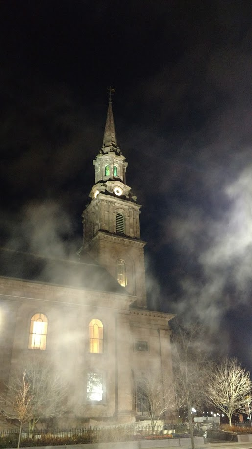 Church surrounded by fog