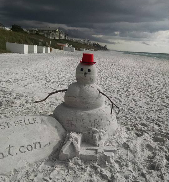 Snowman made of sand in Florida