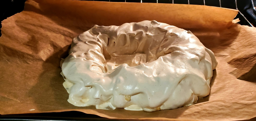 pavlova cooling in the oven