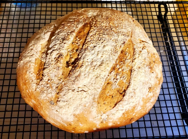 Crusty bread with three slashes
