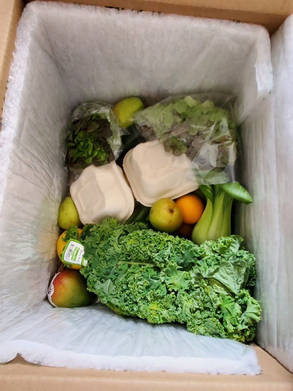 Variety of fruits and veg in the box
