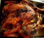 Shot of finished roast turkey from above