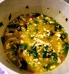 Simmering pot of soup